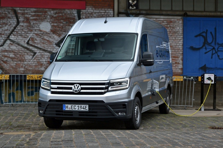 The E-Crafter, pictured above, is the first full electric delivery van produced by Volkswagen.